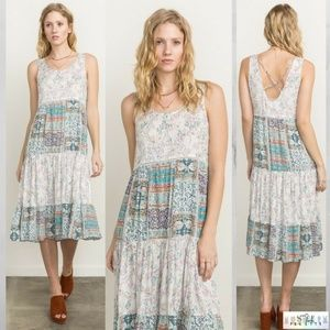Erynn: Patchwork Cross-back Dress by Mystree
